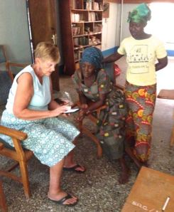 Marilyn working with basket weavers.
